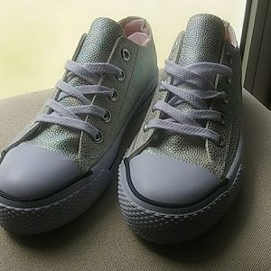 Iridescent Faux Snakeskin Sneakers